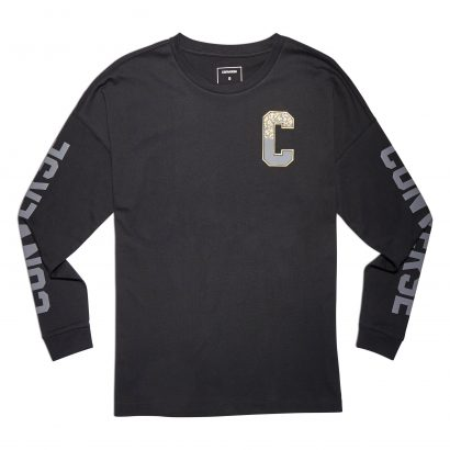 CONVERSE LEFT CHEST METALLIC SPECKLED GRAPHIC LONG SLEEVE TEE