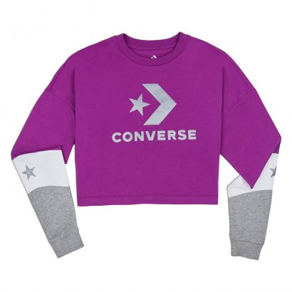 CONVERSE COLORBLOCKED CROPPED LONG SLEEVE