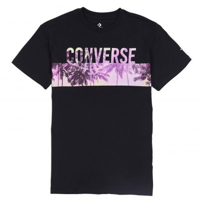 W Palm Tree Wordmark Crew Tee CONVERSE BLACK