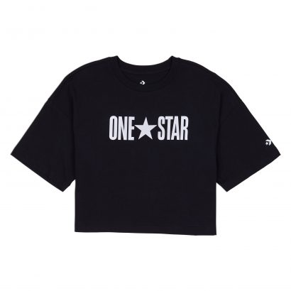 W One Star Printable Boxy Tee CONVERSE BLACK