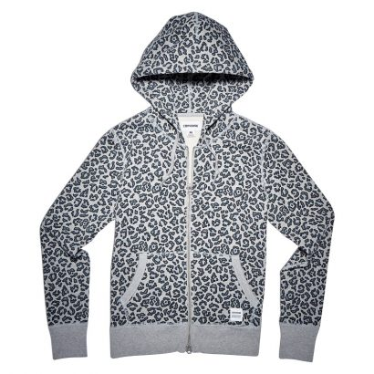 CONVERSE ESSENTIALS LEOPARD FULL-ZIP HOODIE – LIGHT GREY