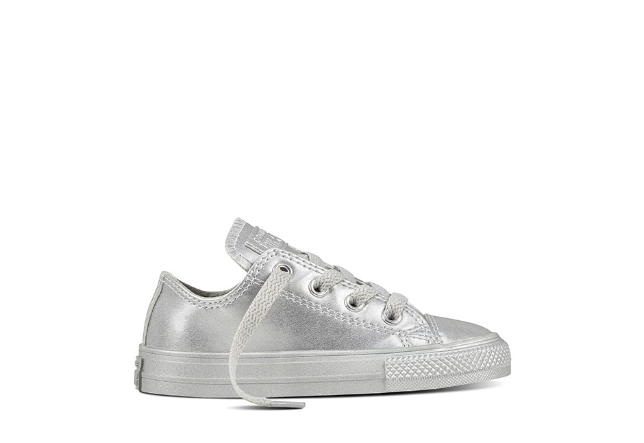 Infant Chuck Taylor All Star Metallic Leather Silver