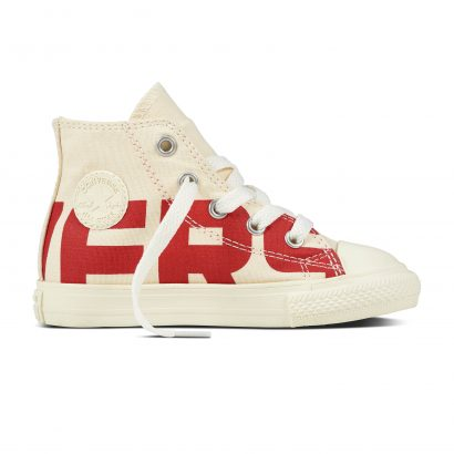CHUCK TAYLOR ALL STAR CONVERSE WORDMARK, FASHION, HI, NATURAL/ENAMEL RED/EGRET