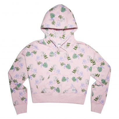 ESSENTIALS LIGHTWEIGHT CROPPED PALM PRINT PULLOVER HOODIE
