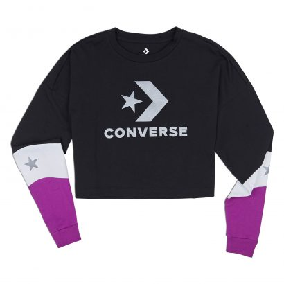 CONVERSE COLORBLOCKED CROPPED LONG SLEEVE – CONVERSE BLACK MULTI