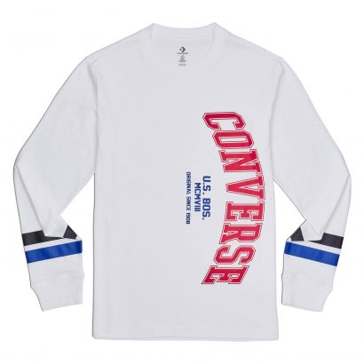 CONVERSE VERTICAL COLLEGIATE TEXT LS TEE – WHITE