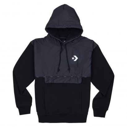 CONVERSE STAR CHEVRON FRONT POCKET PO HOODIE – BLACK