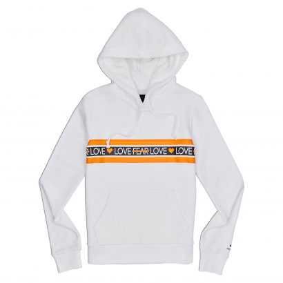 LOVE THE PROGRESS PRINT HOODIE – WHITE