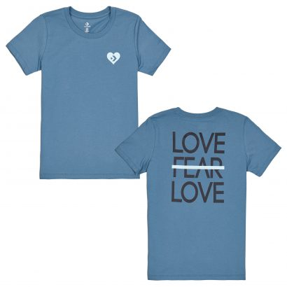 LOVE THE PROGRESS TIEBACK TEE – CELESTIAL TEAL