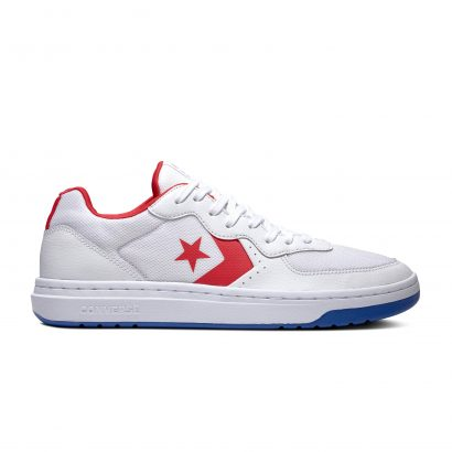 CONVERSE RIVAL LEATHER – OX – WHITE/ENAMEL RED/BLUE