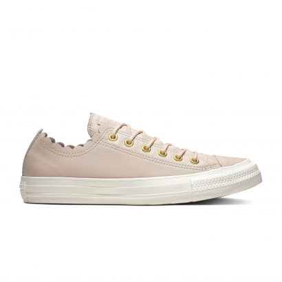 CHUCK TAYLOR ALL STAR SCALLOPED LEATHER – OX – PARTICLE BEIGE/GOLD/EGRET