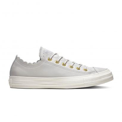 CHUCK TAYLOR ALL STAR SCALLOPED LEATHER – OX – MOUSE/GOLD/EGRET