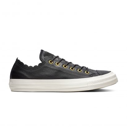 CHUCK TAYLOR ALL STAR SCALLOPED LEATHER – OX – BLACK/GOLD/EGRET