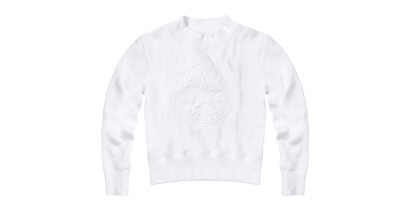 WOMEN EMBOSSED CHUCK PATCH MOCK NECK SWEATSHIRT