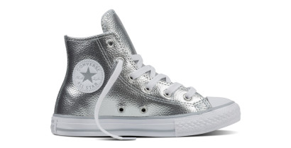 CHUCK TAYLOR ALL STAR METALLIC HI SILVER (YOUTH)