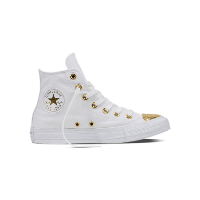 CHUCK TAYLOR ALL STAR METALLIC TOECAP HI WHITE