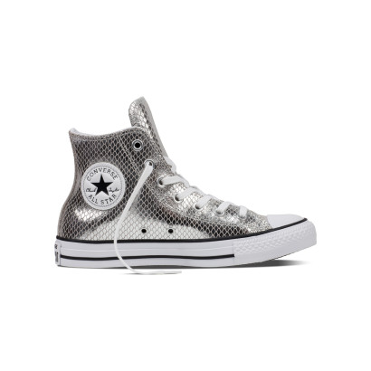 CHUCK TAYLOR ALL STAR METALLIC SNAKE HI SILVER