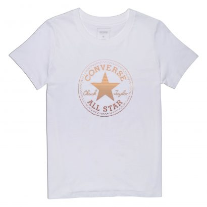 WOMEN CLEAR FOIL CHUCK PATCH CREW TEE