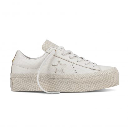 ONE STAR PLATFORM REPTILE LEATHER OX WHITE