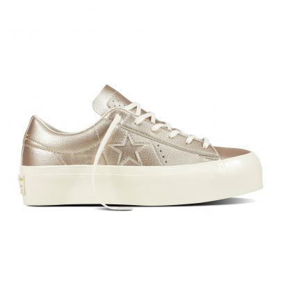 ONE STAR PLATFORM METALLIC LEATHER OX GOLD
