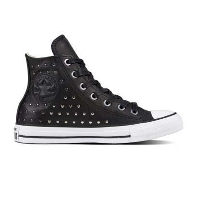 CTAS LEATHER STUD HI BLACK SILVER