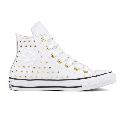 CTAS LEATHER STUD HI WHITE GOLD