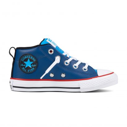 KIDS CTAS STREET LEATHER MID COURT BLUE
