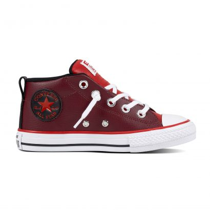 KIDS CTAS STREET LEATHER MID ENAMEL RED