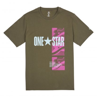 MEN CONVERSE ONE STAR PHOTO SHORT SLEEVE TEE KHAKI