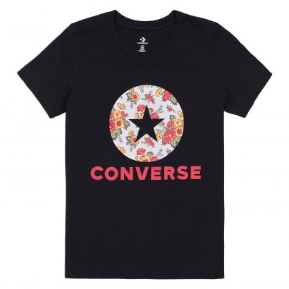 WOMEN CONVERSE IN BLOOM FLORAL TEE SHORT SLEEVE BLACK