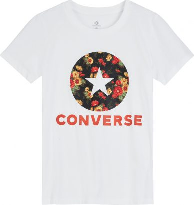 WOMEN CONVERSE IN BLOOM FLORAL TEE SHORT SLEEVE WHITE