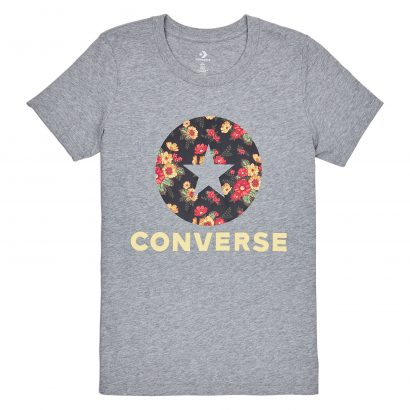 WOMEN CONVERSE IN BLOOM FLORAL TEE SHORT SLEEVE GREY