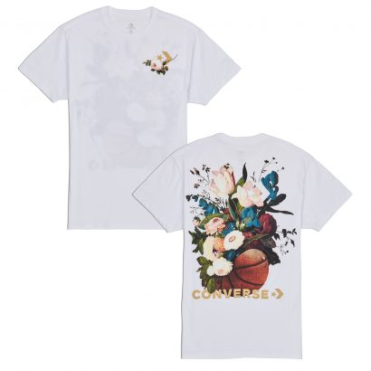WOMEN CONVERSE FLORAL BASKETBALL RELAXED TEE WHITE