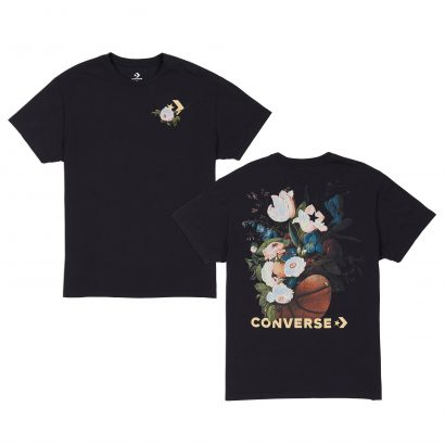WOMEN CONVERSE FLORAL BASKETBALL RELAXED TEE BLACK