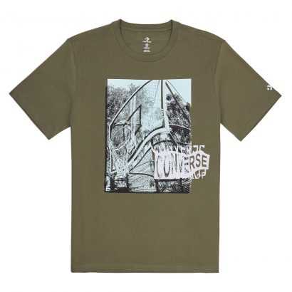 MEN CONVERSE HOOP THERE IT IS PHOTO TEE KHAKI